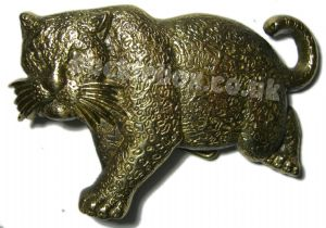 LEOPARD (SOLID BRASS) BELT BUCKLE + display stand. Product code: HJ6